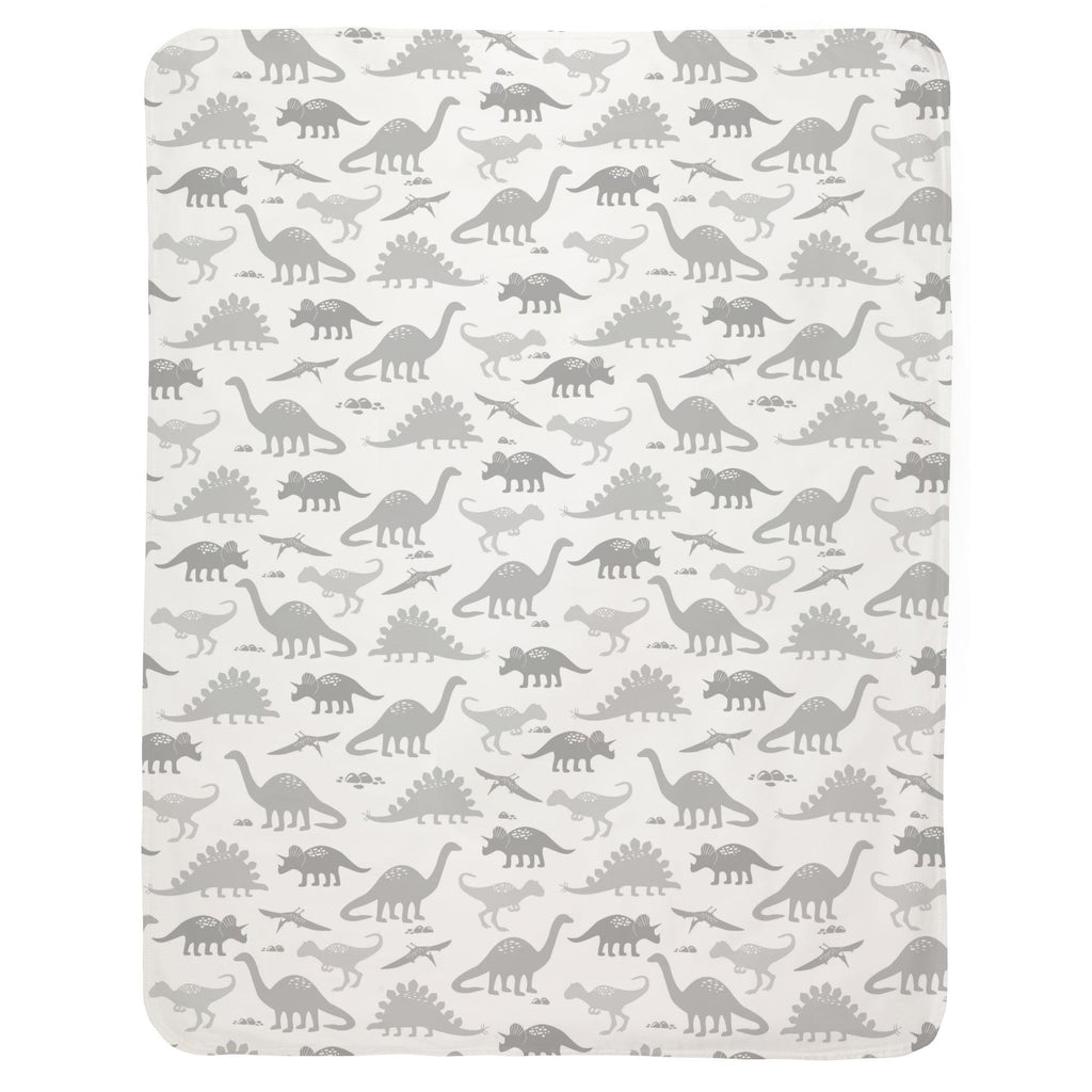 Product image for Gray Dinosaurs Baby Blanket
