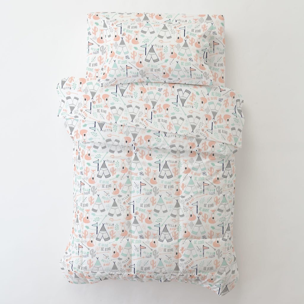 Product image for Peach Brave Fox Toddler Pillow Case with Pillow Insert