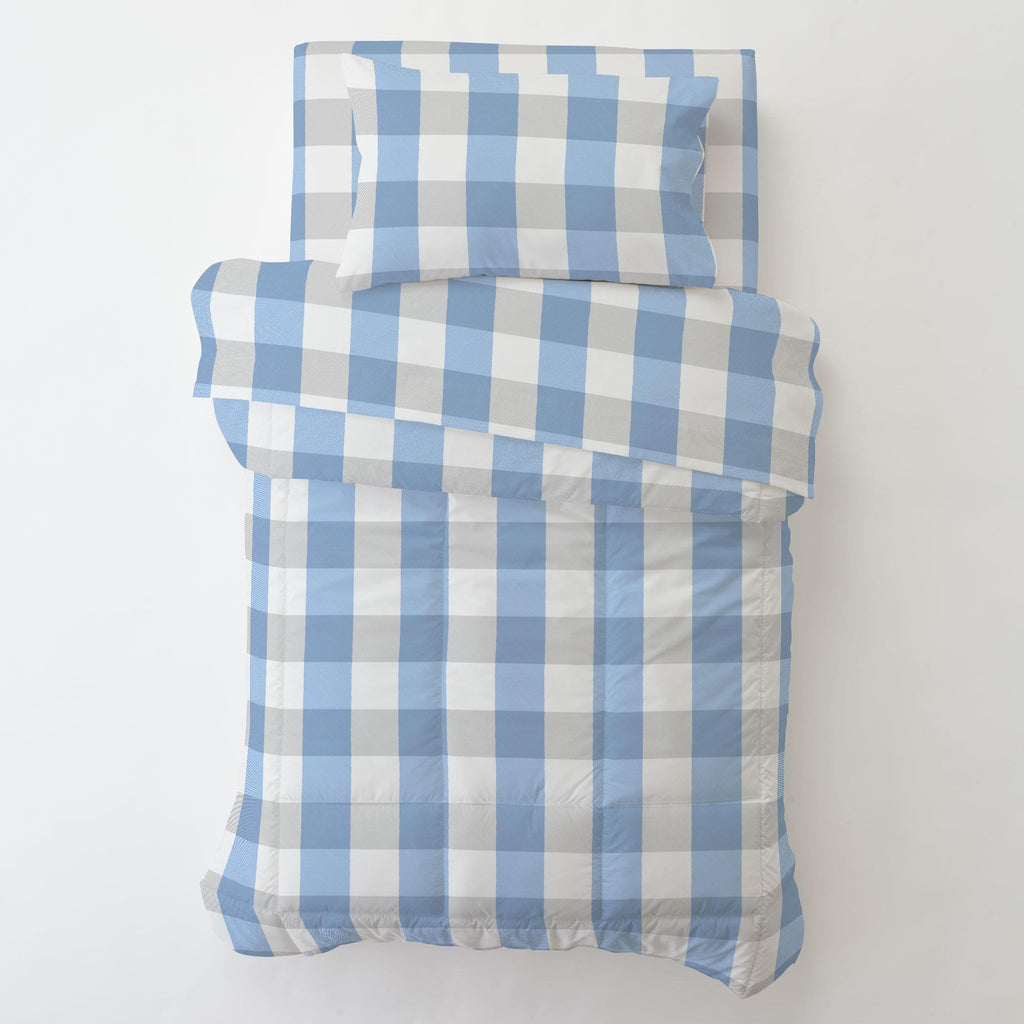 Product image for Blue and Silver Gray Buffalo Check Toddler Pillow Case with Pillow Insert