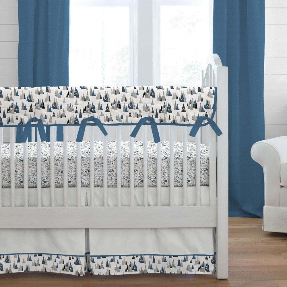Product image for Blue Woodland Mountains Crib Skirt Single-Pleat with Trim