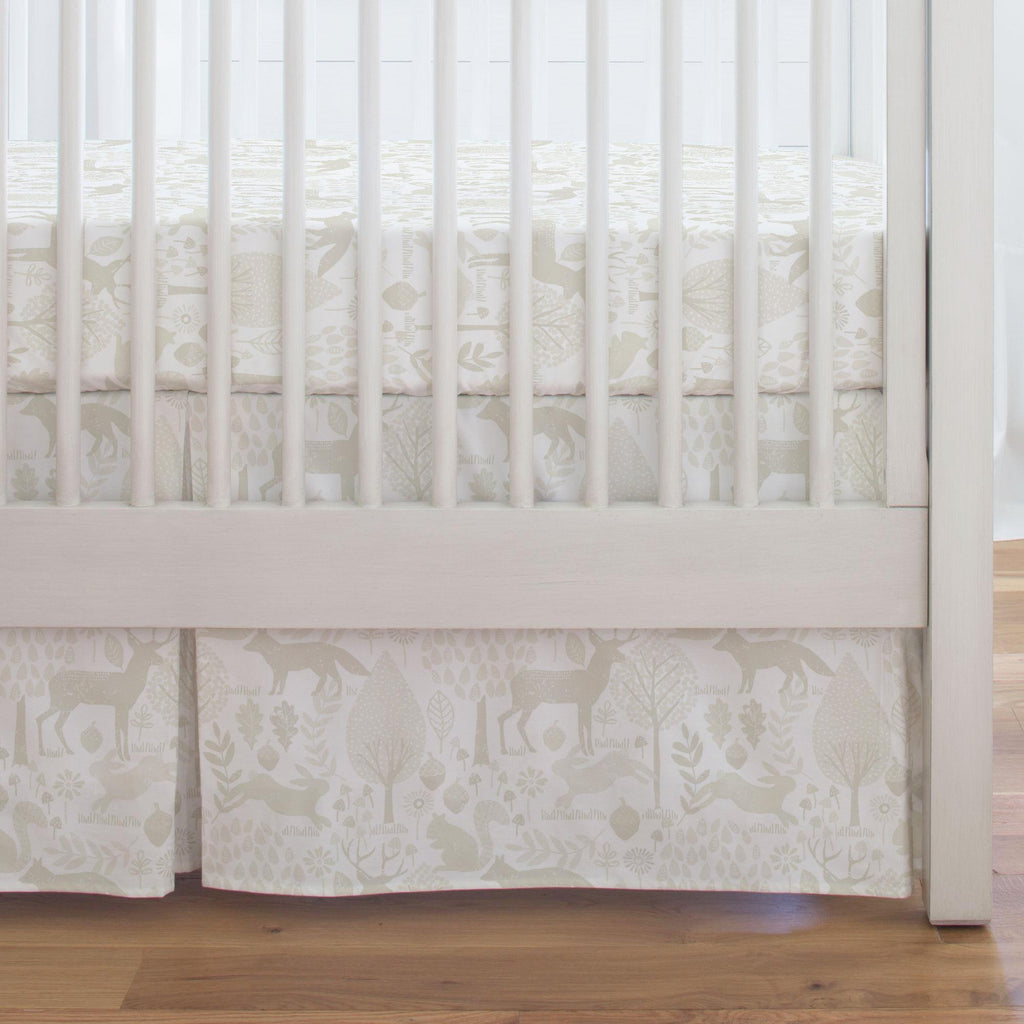 Product image for Ivory Woodland Animals Crib Skirt Single-Pleat