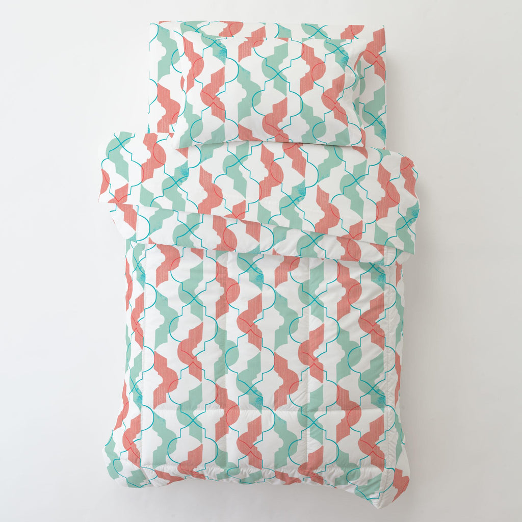 Product image for Coral and Teal Modern Quatrefoil Toddler Pillow Case with Pillow Insert
