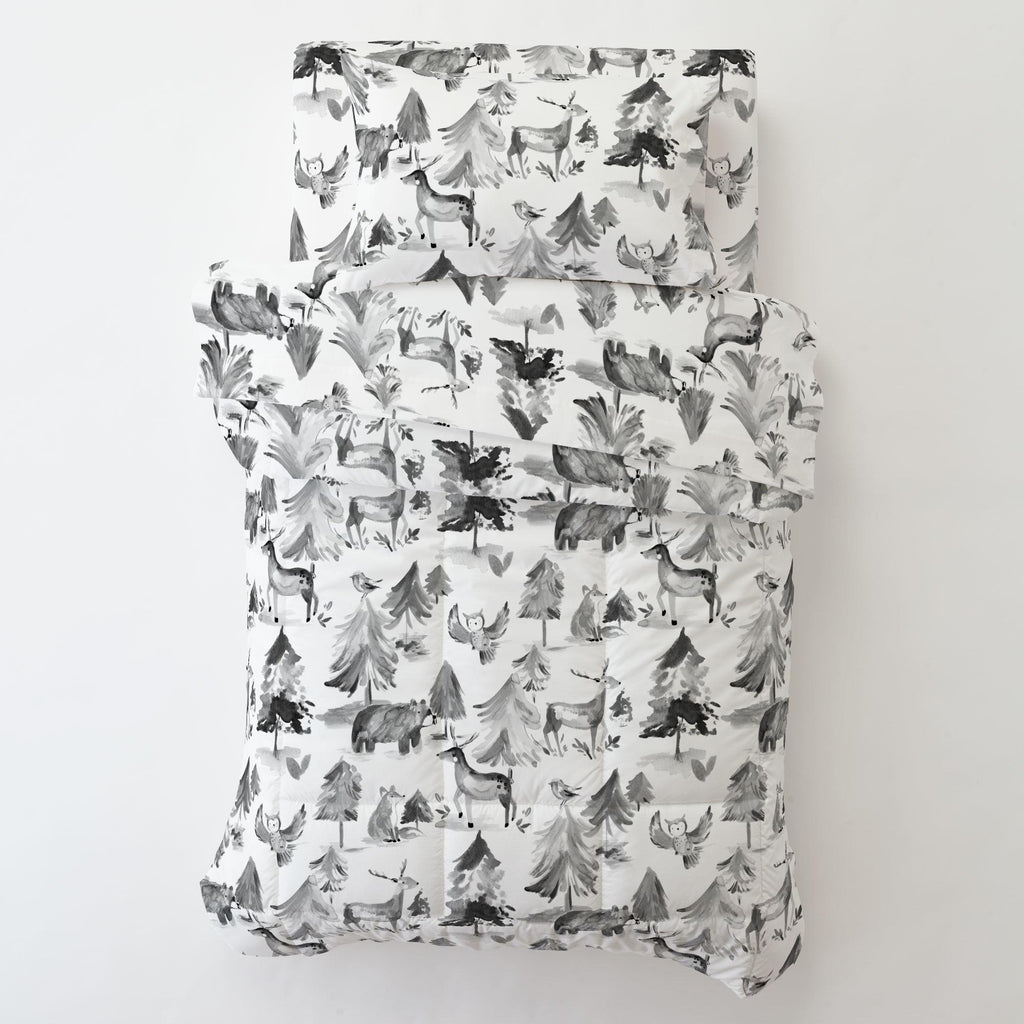 Product image for Gray Painted Forest Toddler Comforter