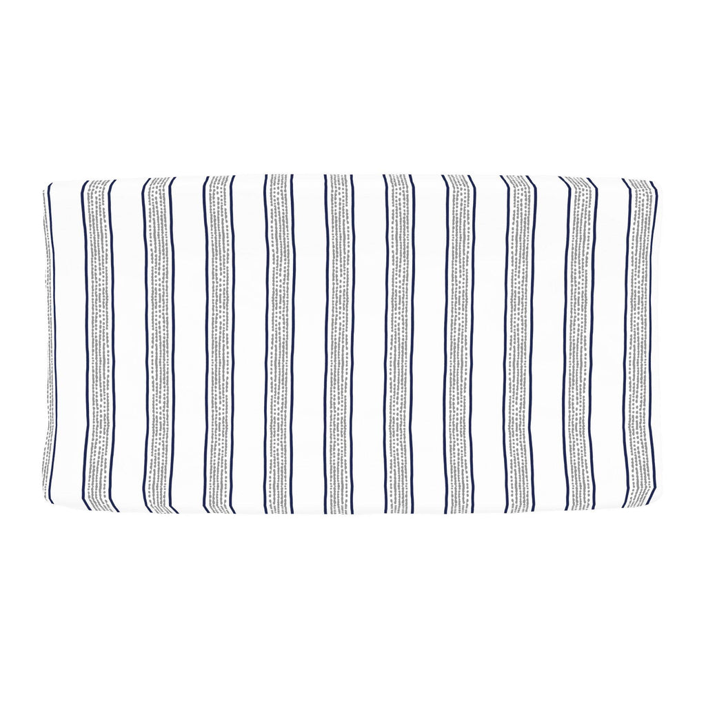 Product image for Navy and Gray Beach Stripe Changing Pad Cover
