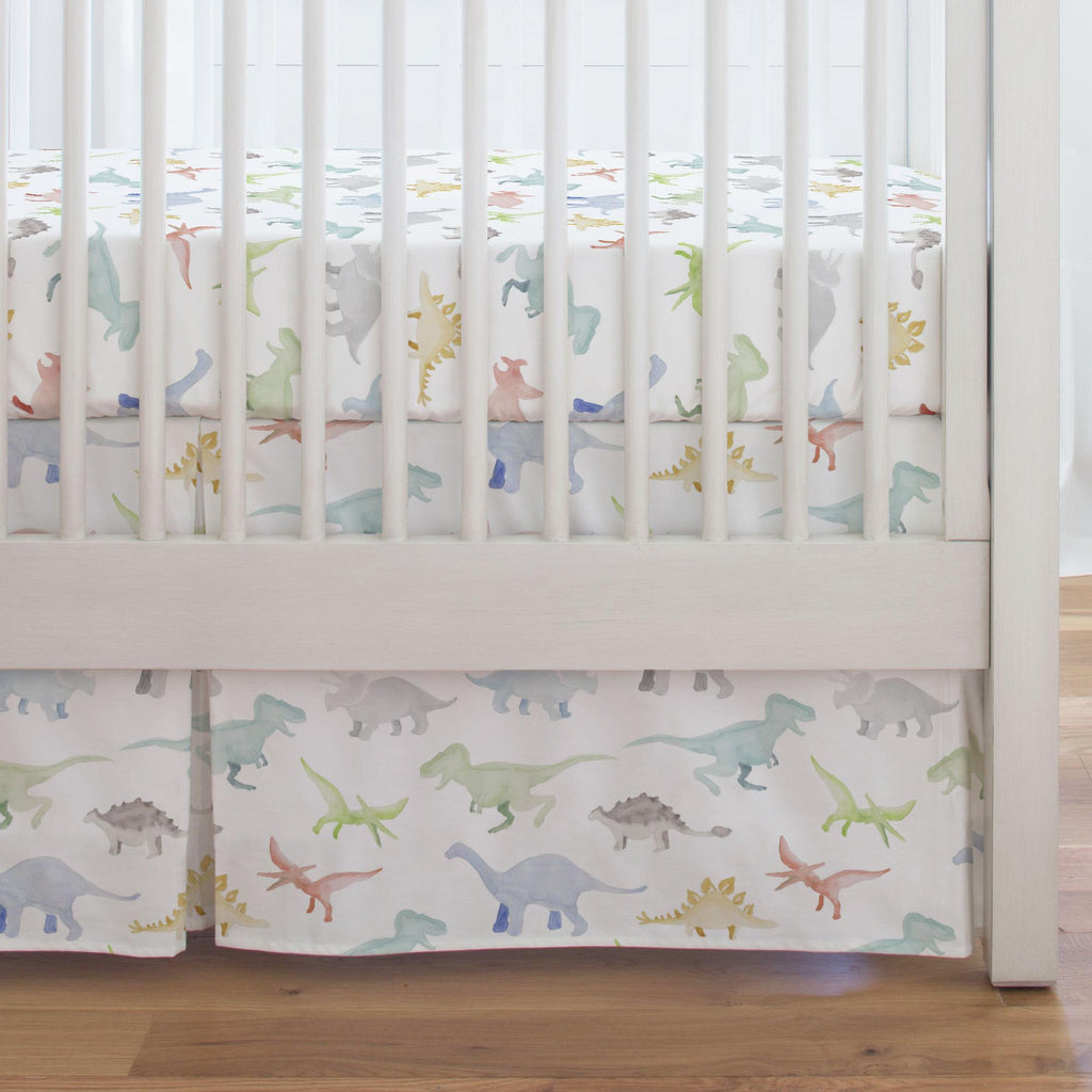 Product image for Watercolor Dinosaurs Crib Skirt Single-Pleat