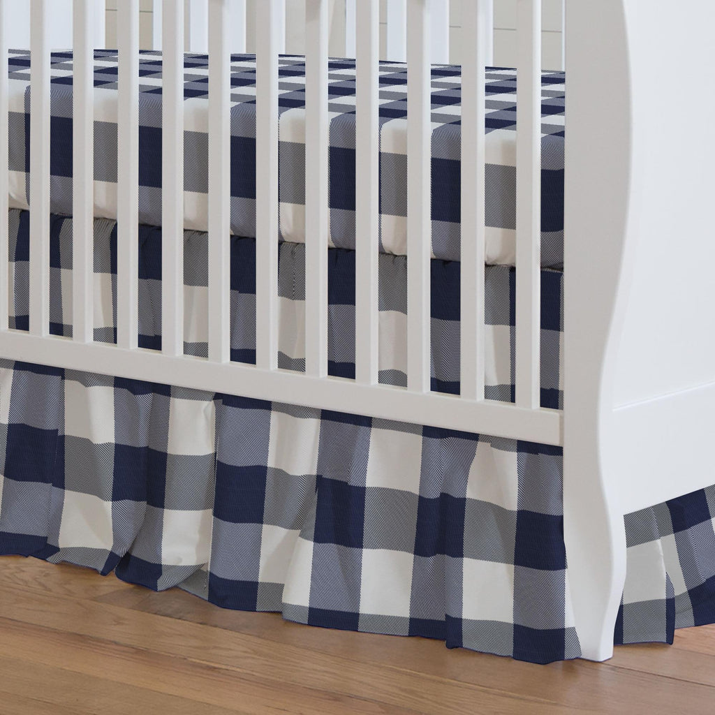 Product image for Navy and White Buffalo Check Crib Skirt Gathered