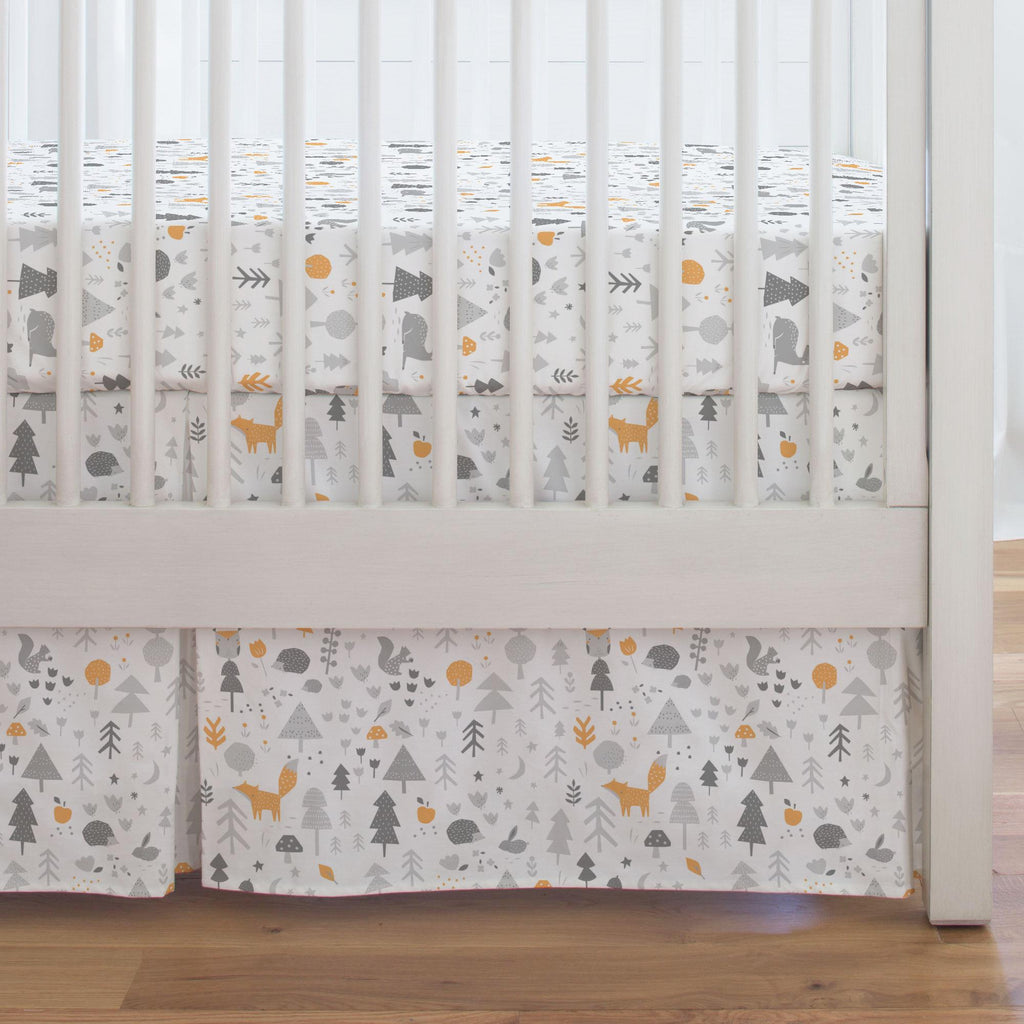 Product image for Light Orange and Silver Gray Baby Woodland Crib Skirt Single-Pleat