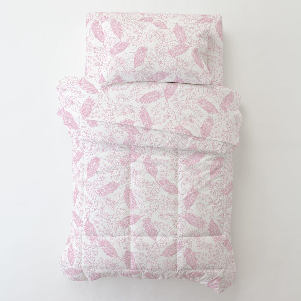 Product image for Bubblegum Palm Leaves Toddler Pillow Case with Pillow Insert