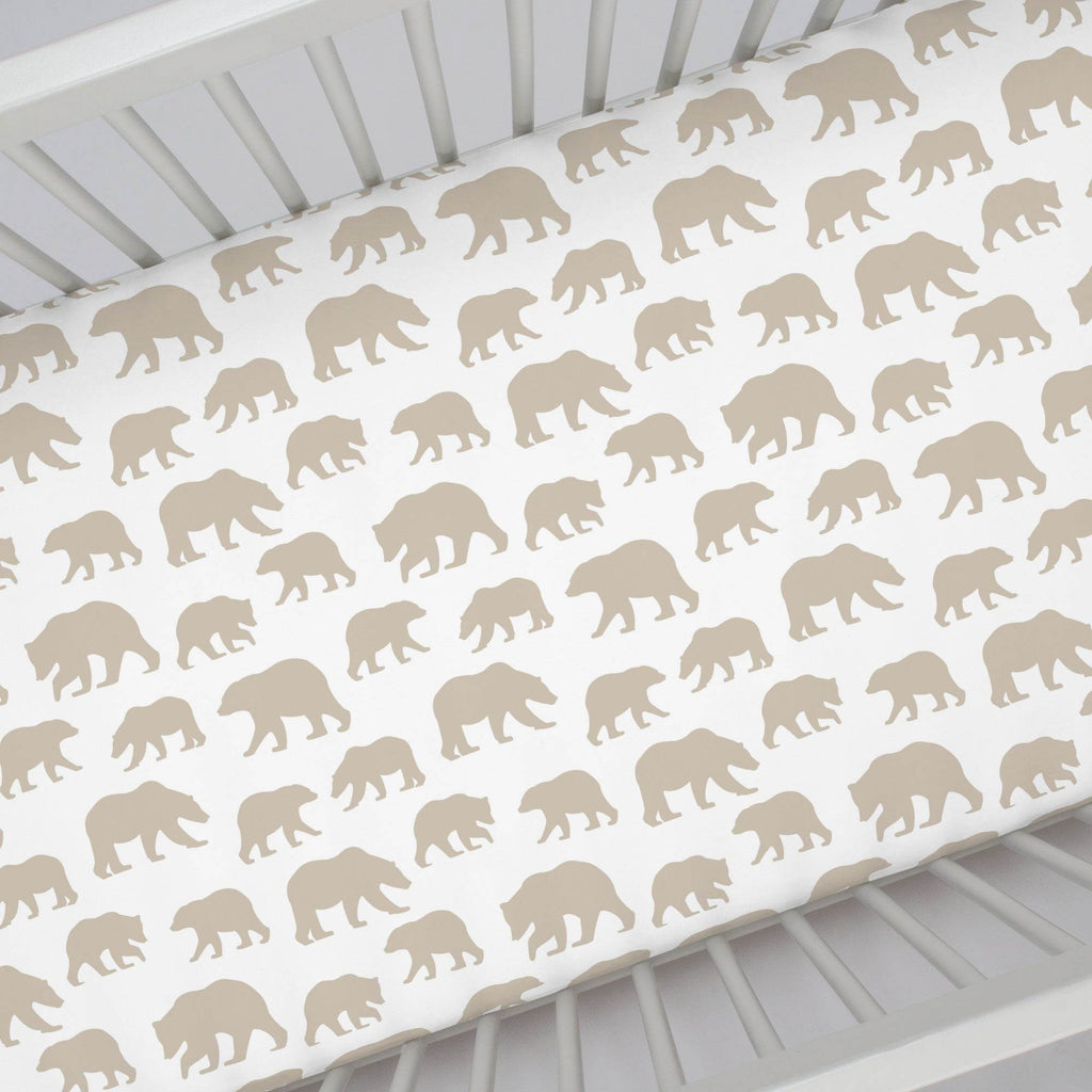 Product image for Taupe Bears Crib Sheet