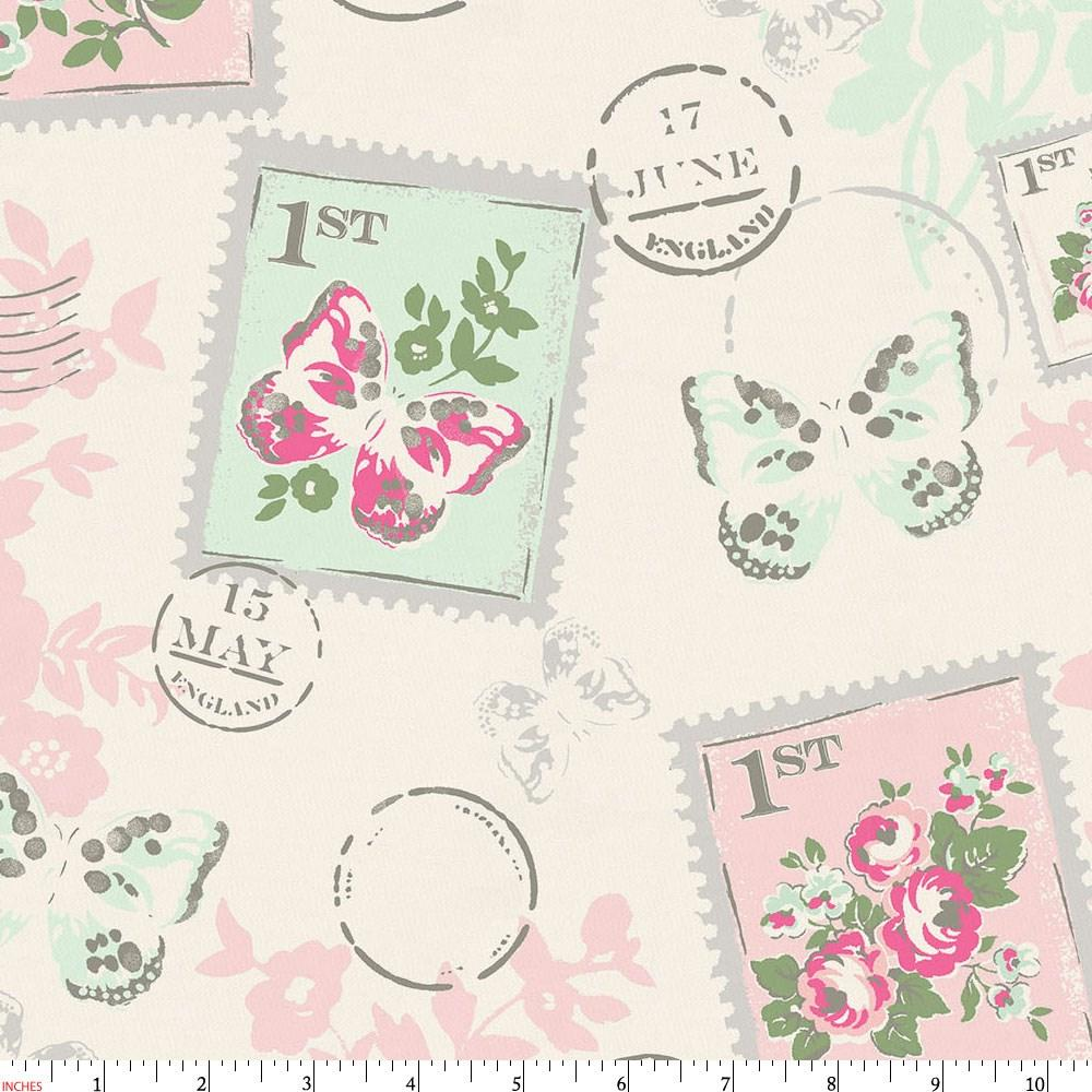Product image for Blush and Ivory Vintage Stamp Fabric