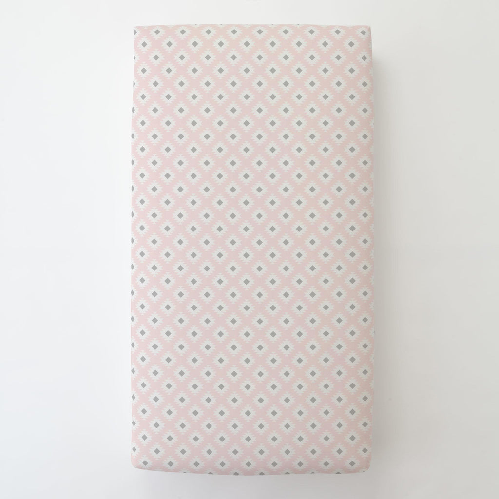 Product image for Blush Pink and Gray Aztec Toddler Sheet Bottom Fitted