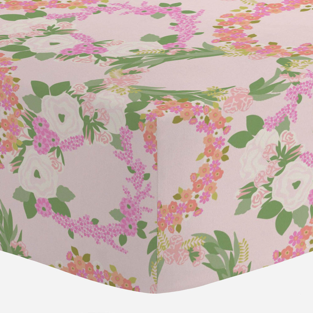 Product image for Pink and Coral Floral Wreath Mini Crib Sheet