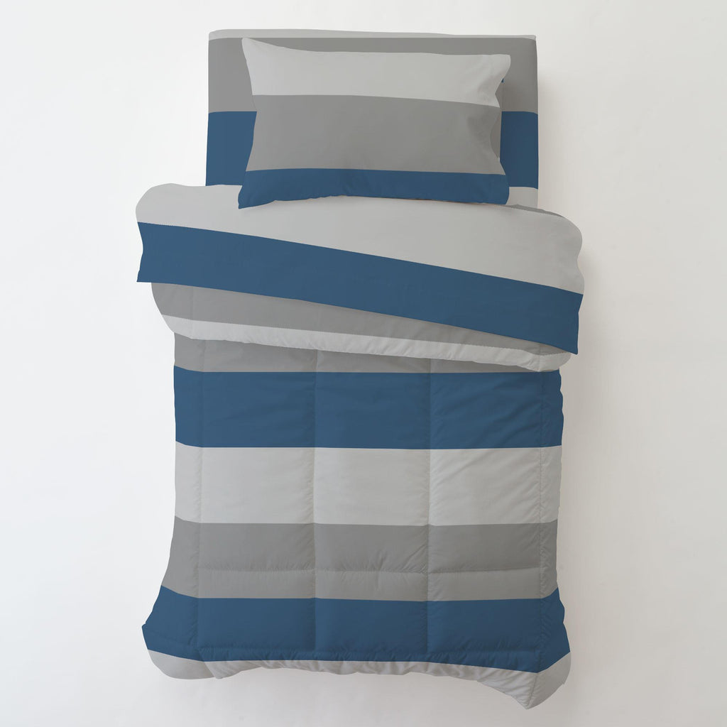 Product image for Gray and Denim Blue Wide Stripe Toddler Pillow Case with Pillow Insert