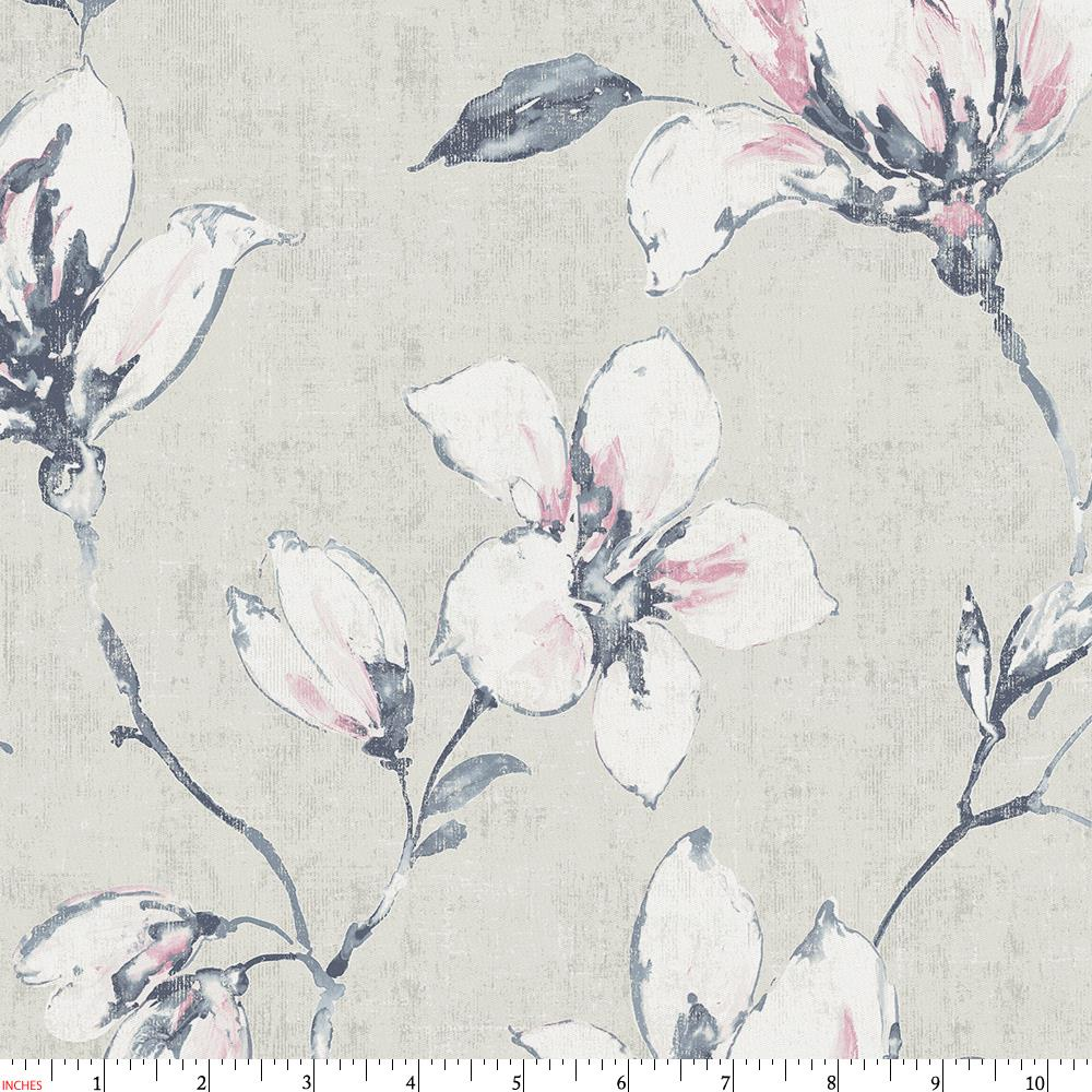 Product image for Pink and Blue Painted Lilies Fabric