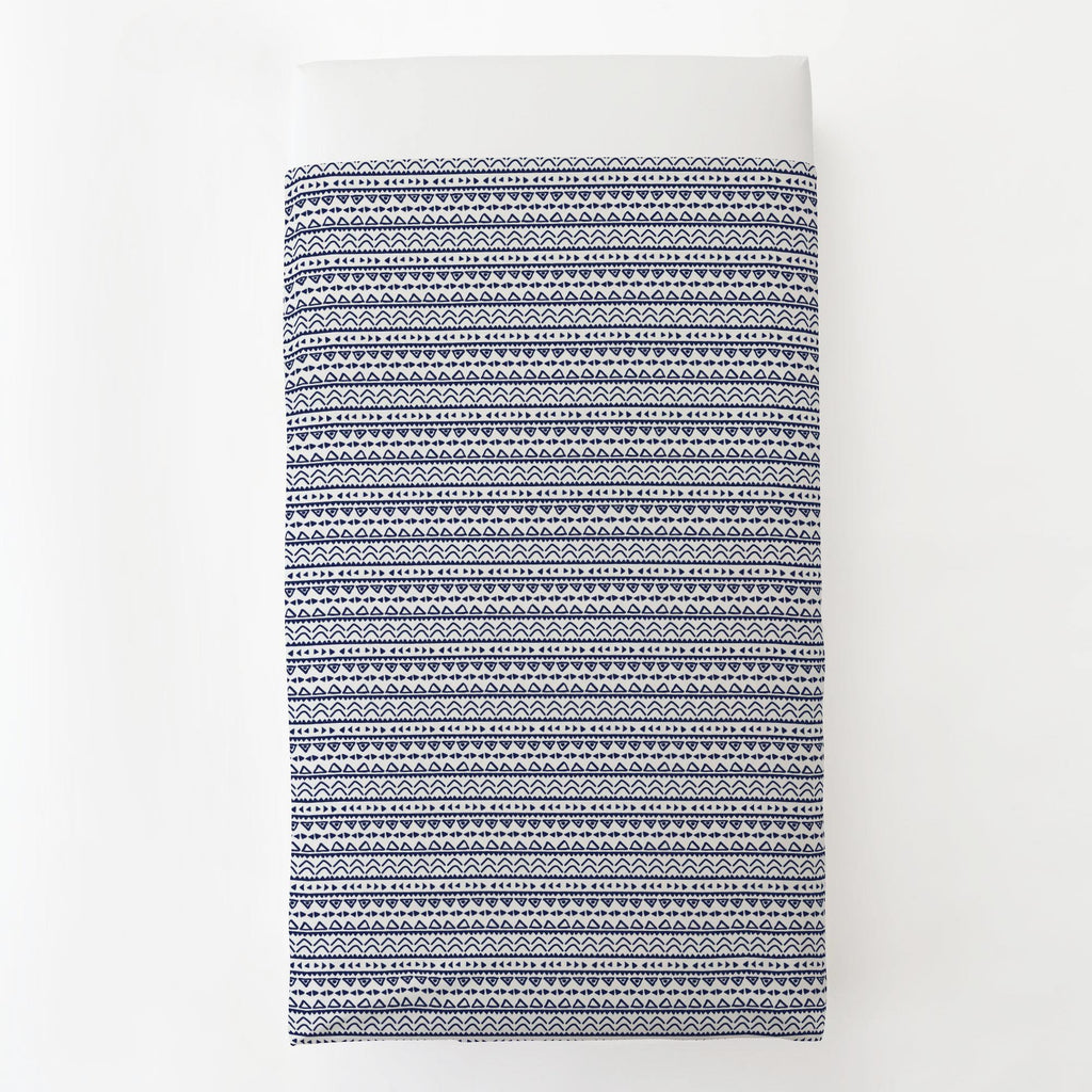 Product image for Windsor Navy Baby Aztec Toddler Sheet Top Flat