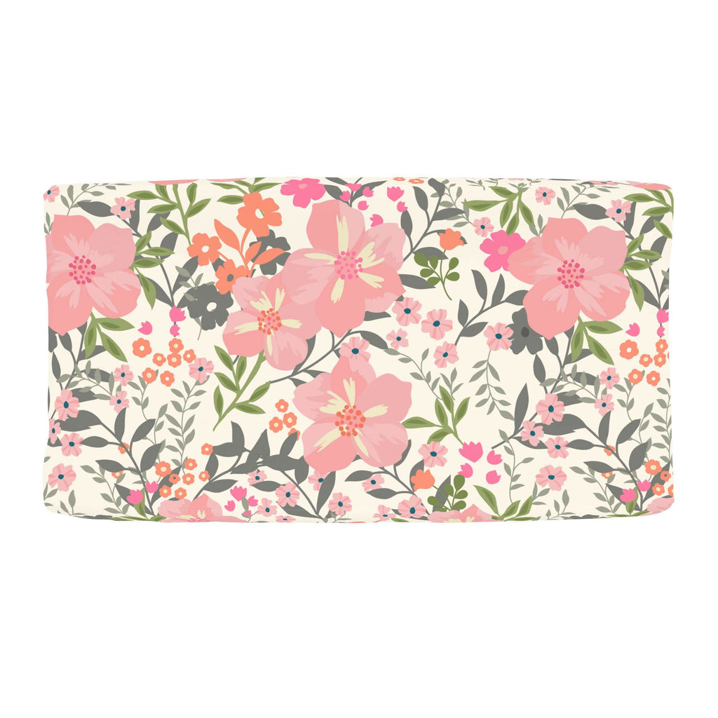 Product image for Pink and Orange Floral Tropic Changing Pad Cover