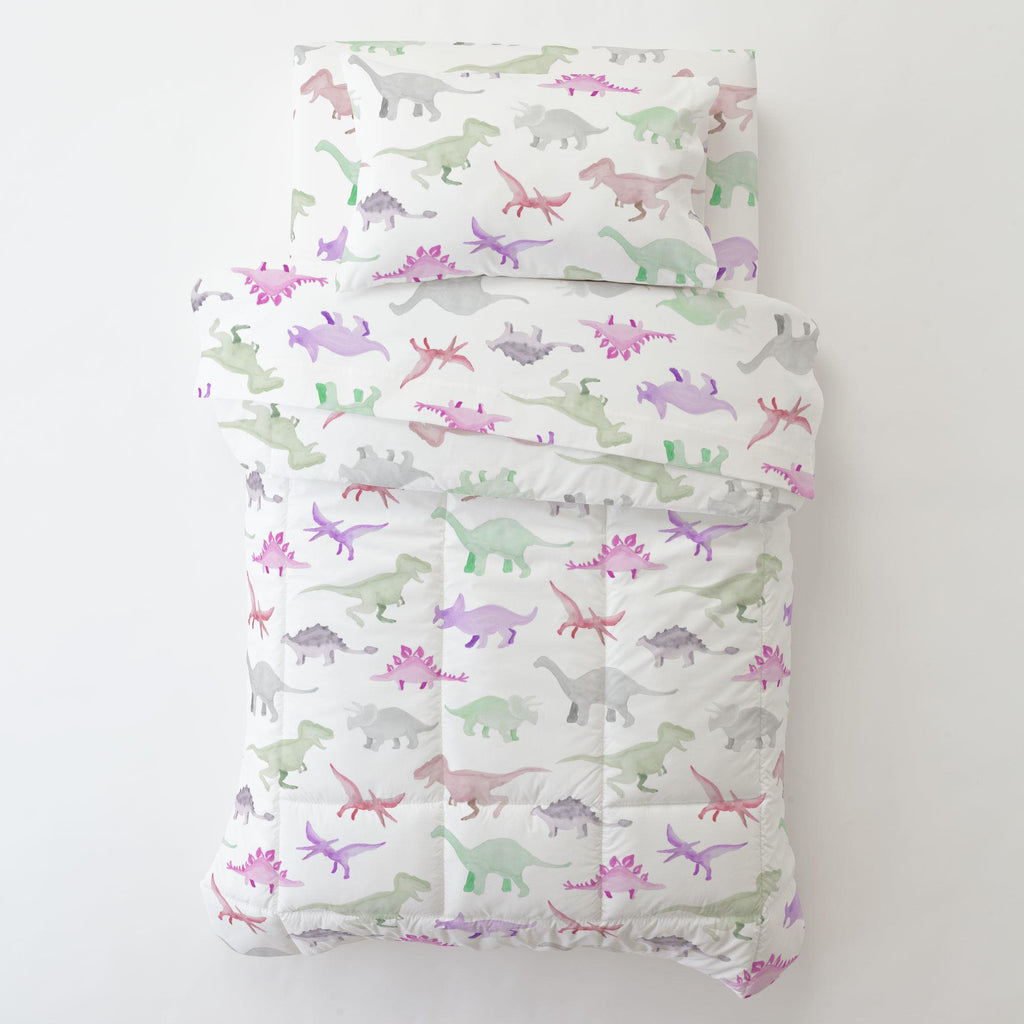 Product image for Pink Watercolor Dinosaurs Toddler Comforter