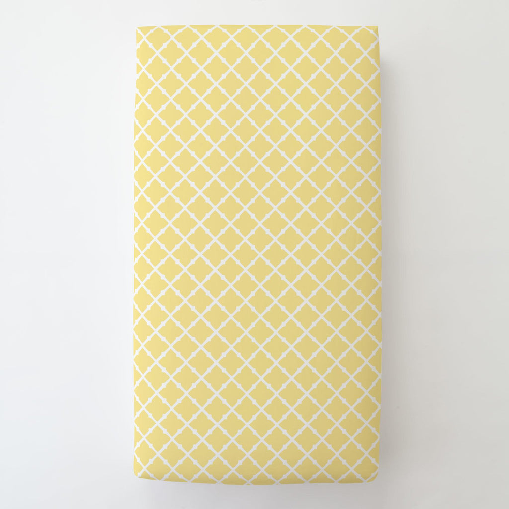 Product image for Banana Yellow Lattice Toddler Sheet Bottom Fitted