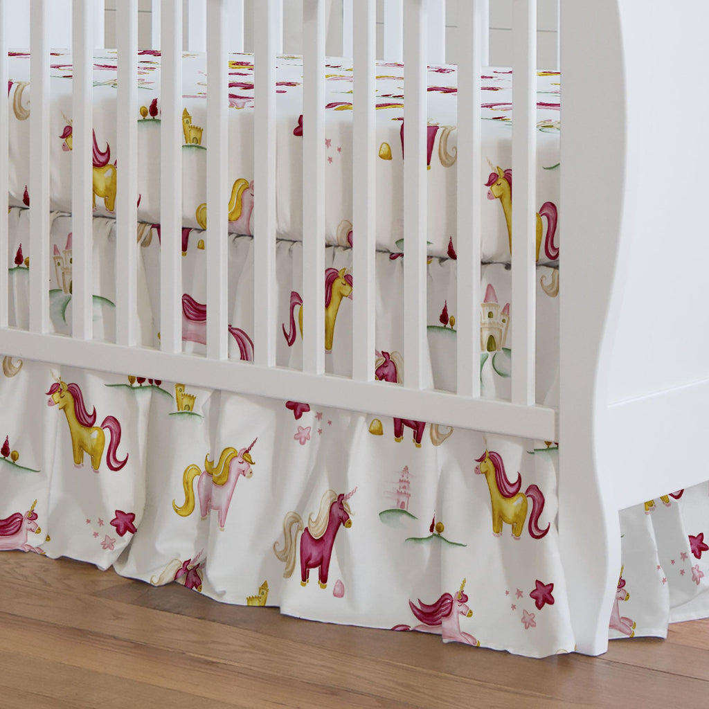 Product image for Painted Unicorns Crib Skirt Gathered