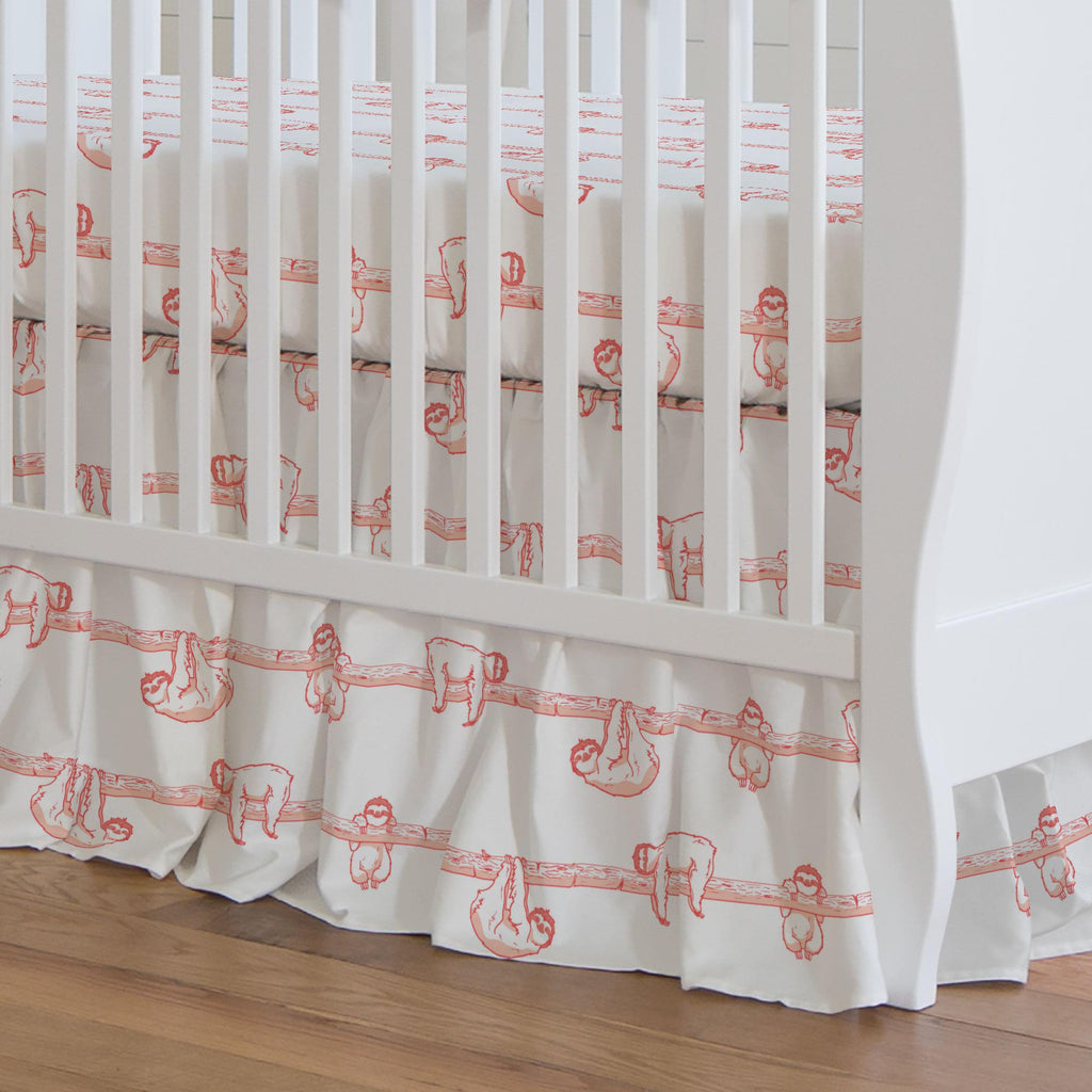 Product image for Coral Sloth Crib Skirt Gathered