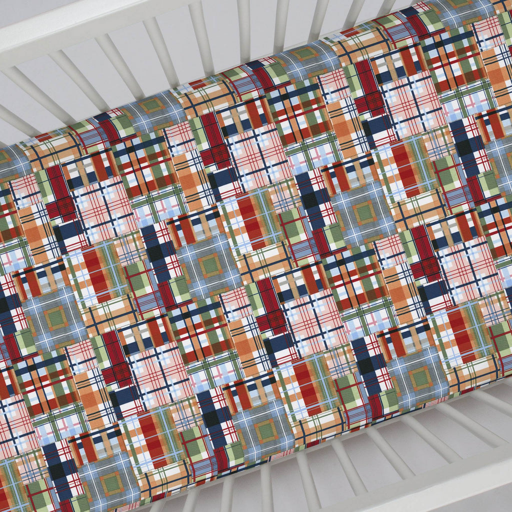 Product image for Patchwork Plaid Crib Sheet