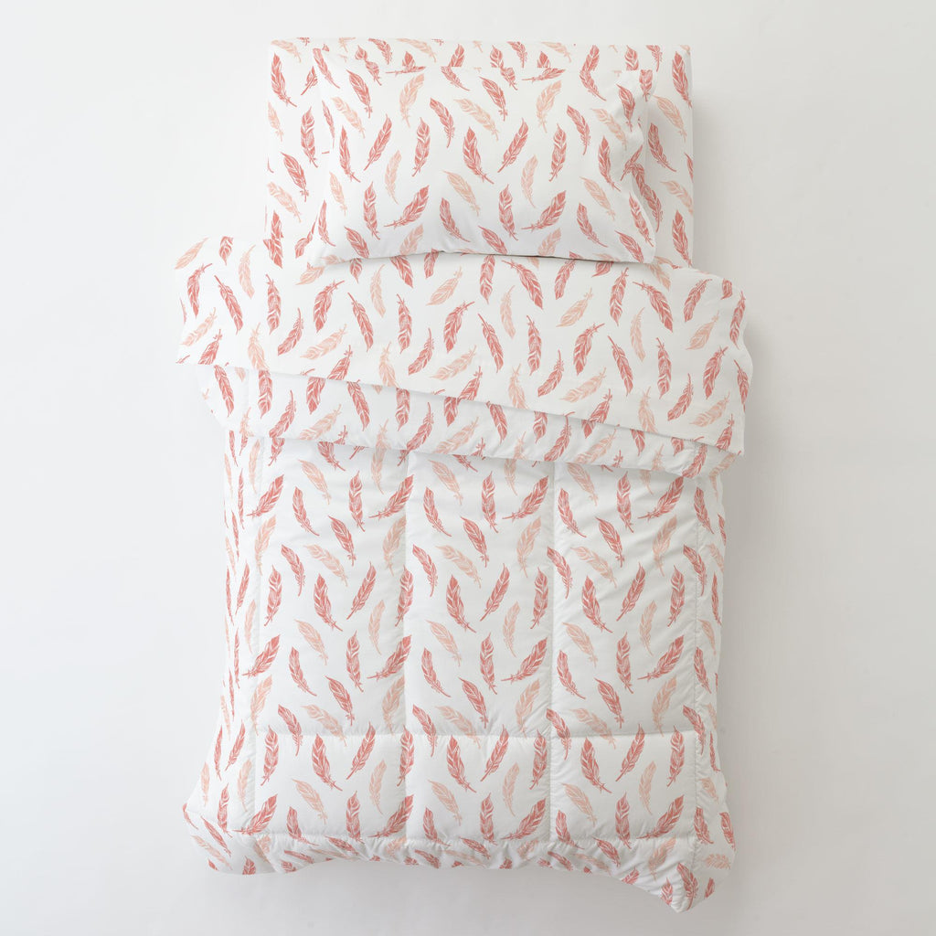 Product image for Light Coral and Peach Hand Drawn Feathers Toddler Pillow Case with Pillow Insert