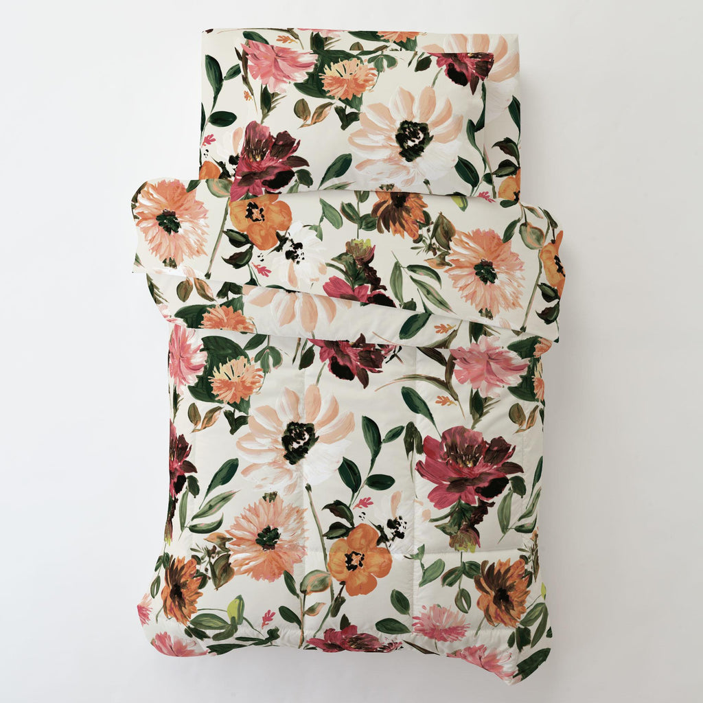 Product image for Moody Floral Toddler Pillow Case with Pillow Insert