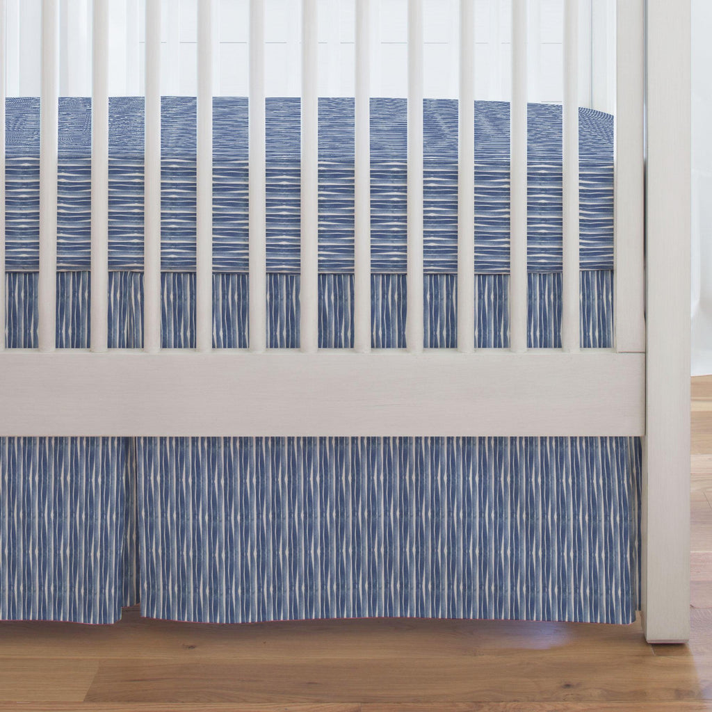 Product image for Blue Ocean Stripe Crib Skirt Single-Pleat