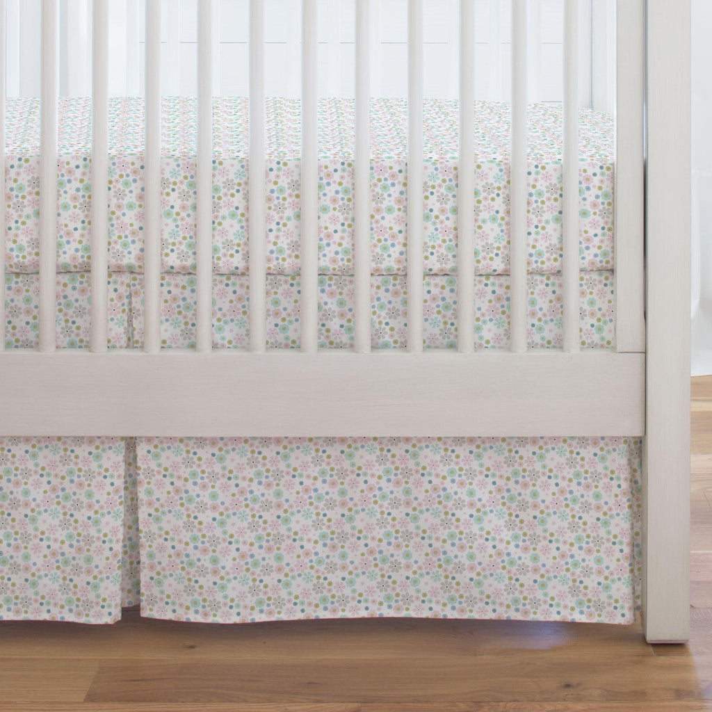 Product image for Pink Spring Flowers Crib Skirt Single-Pleat