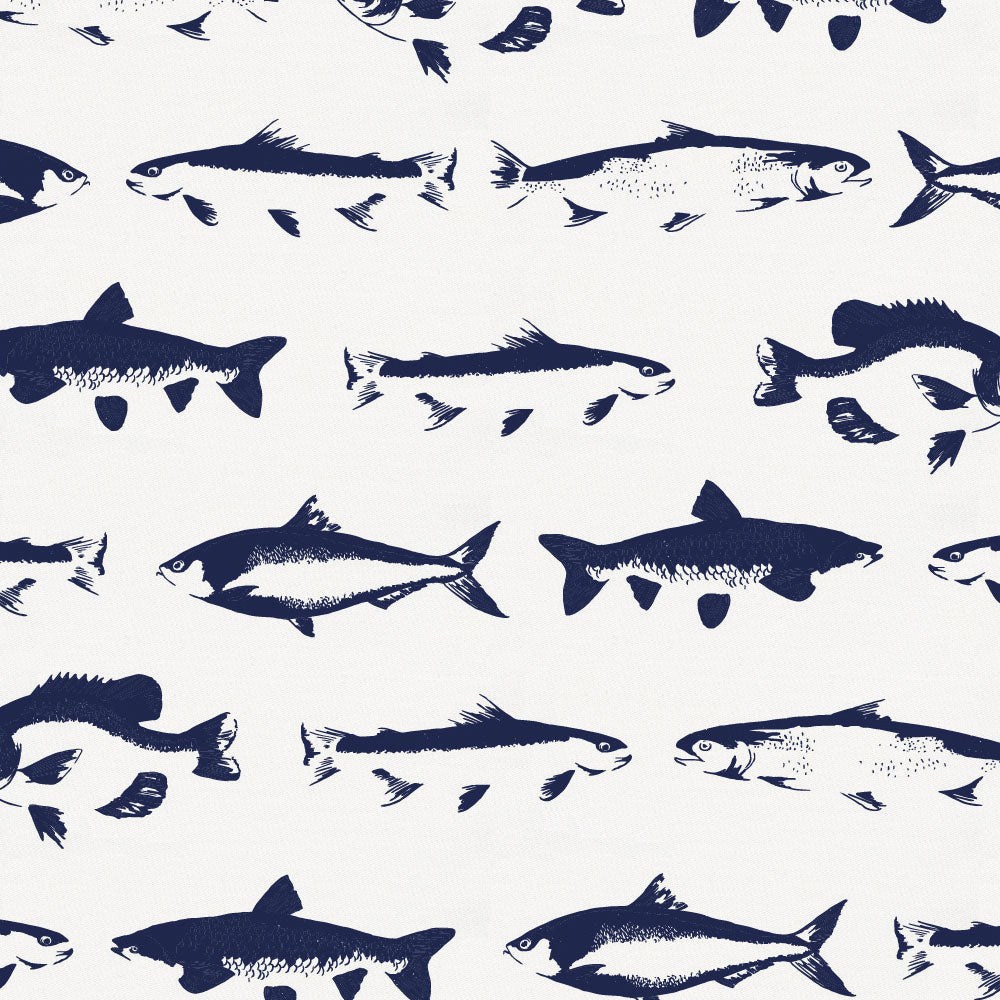 Product image for Windsor Navy Fish Crib Comforter