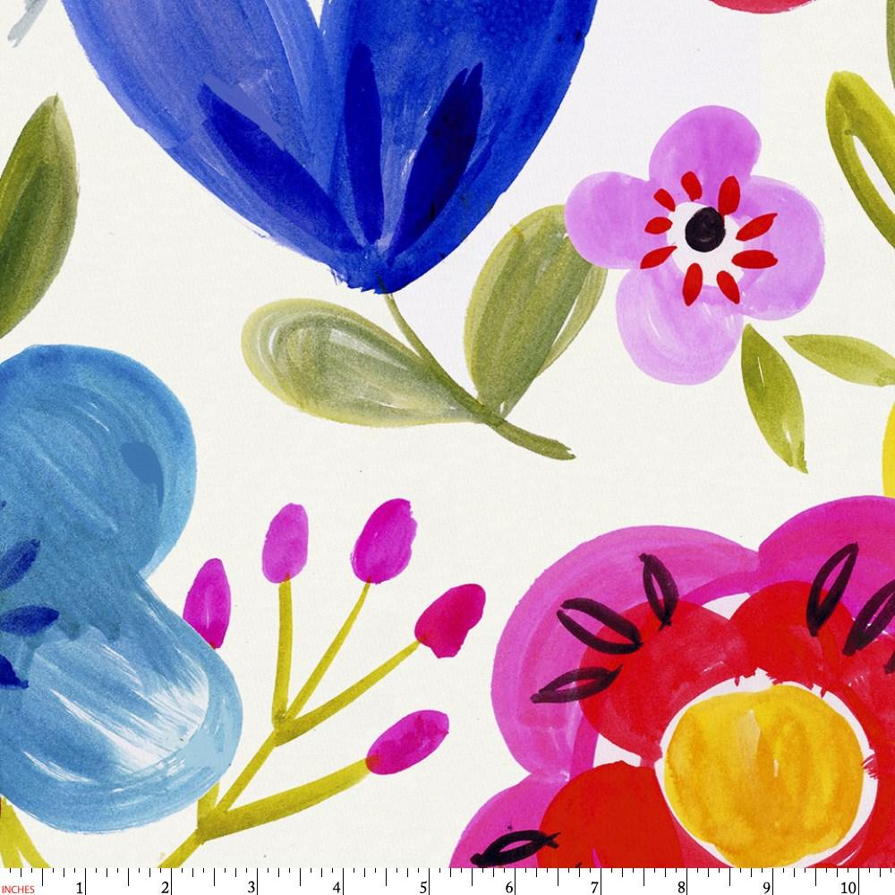 Product image for Primary Painted Flowers Fabric