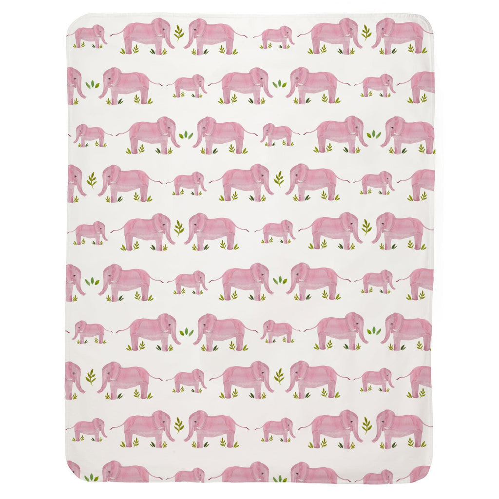 Product image for Pink Painted Elephants Baby Blanket