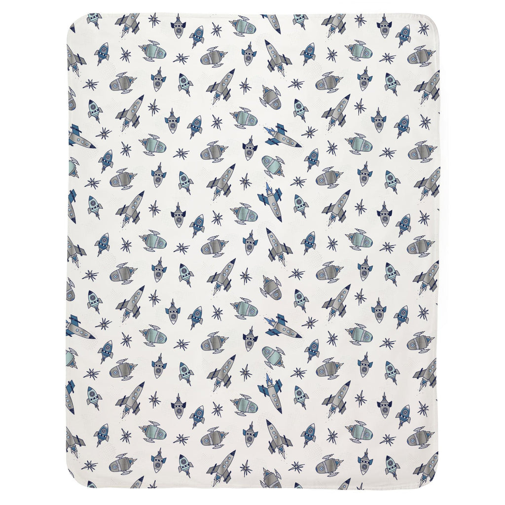 Product image for Navy Retro Rockets Baby Blanket