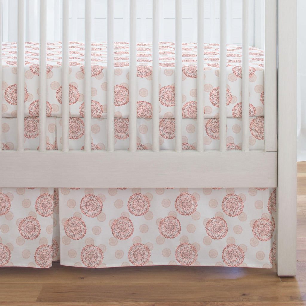 Product image for Light Coral and Peach Dandelion Crib Skirt Single-Pleat