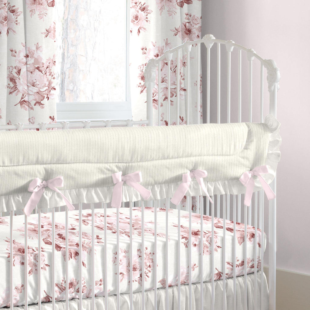 Product image for Rose Farmhouse Floral Crib Rail Cover