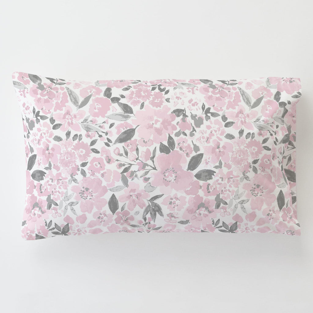 Product image for Pink and Gray Prairie Floral Toddler Pillow Case