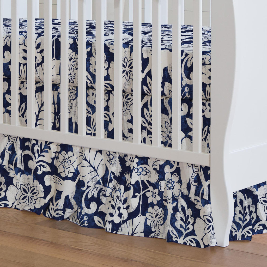 Product image for Navy and White Jungle Crib Skirt Gathered