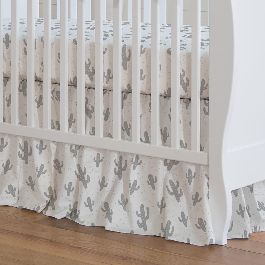 Product image for Silver Gray Cactus Crib Skirt Gathered