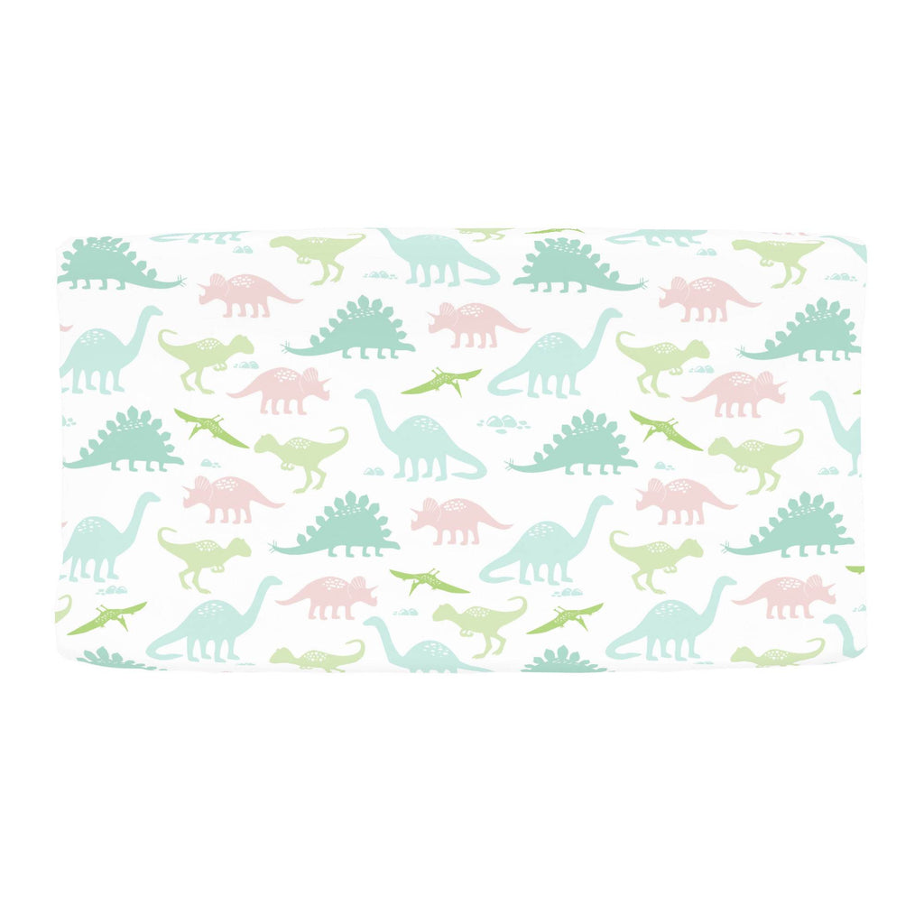 Product image for Pale Pink and Mint Dinosaurs Changing Pad Cover