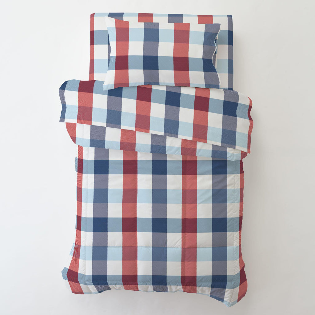 Product image for Navy and Red Buffalo Check Toddler Pillow Case with Pillow Insert