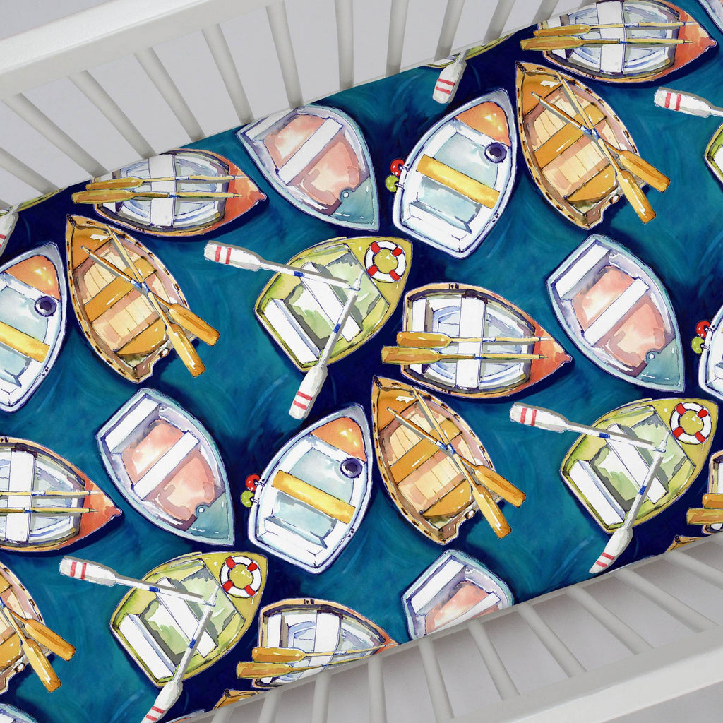Product image for Blue Watercolor Boats Crib Sheet