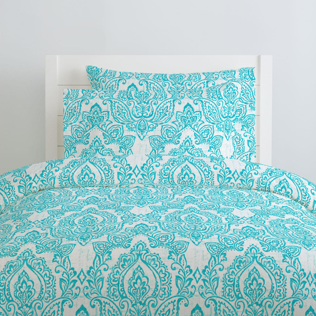 Product image for White and Teal Vintage Damask Pillow Case