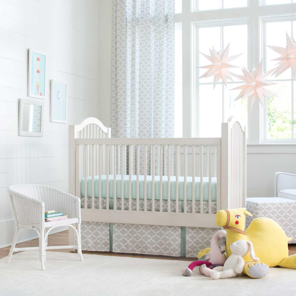 Product image for French Gray Quatrefoil Crib Skirt Two-Pleat