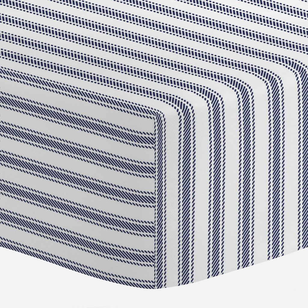 Product image for Windsor Navy Ticking Stripe Mini Crib Sheet