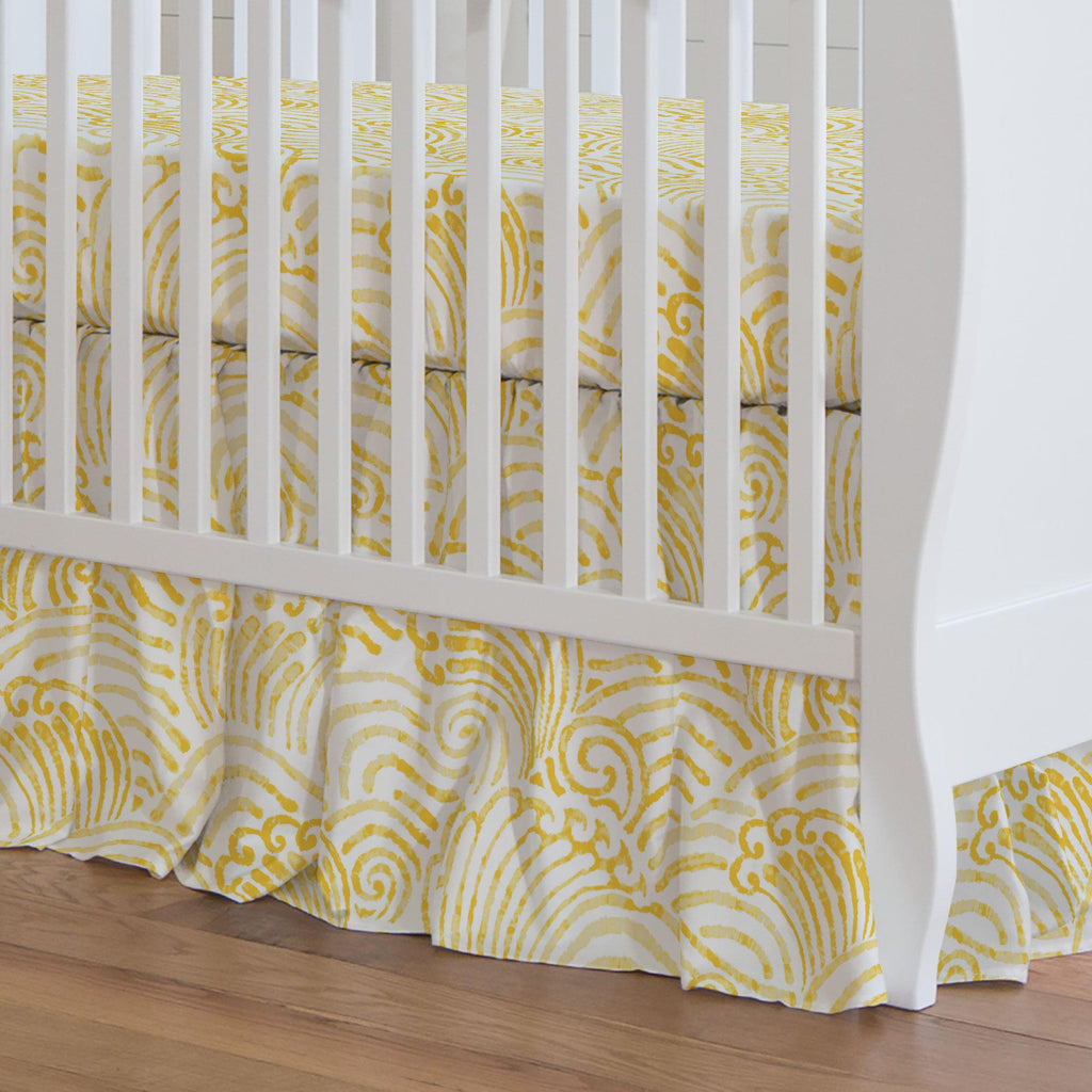 Product image for Yellow Seas Crib Skirt Gathered