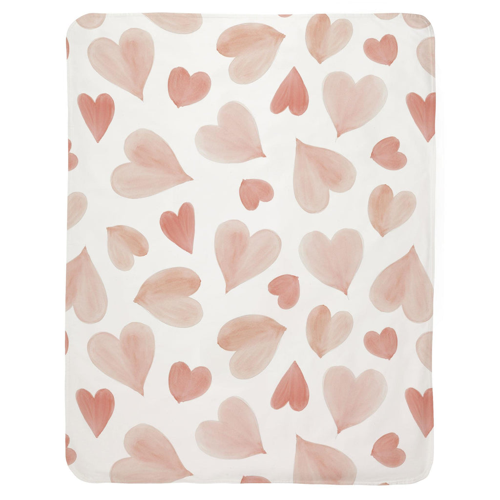 Product image for Peach Watercolor Hearts Baby Blanket