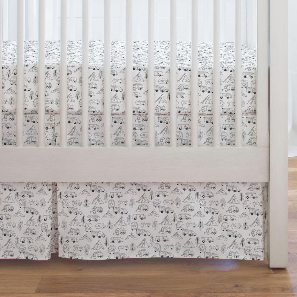 Product image for Slate Little Campers Crib Skirt Single-Pleat