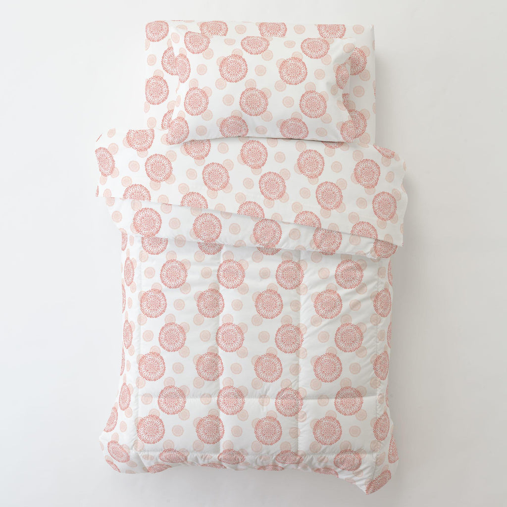 Product image for Light Coral and Peach Dandelion Toddler Pillow Case with Pillow Insert