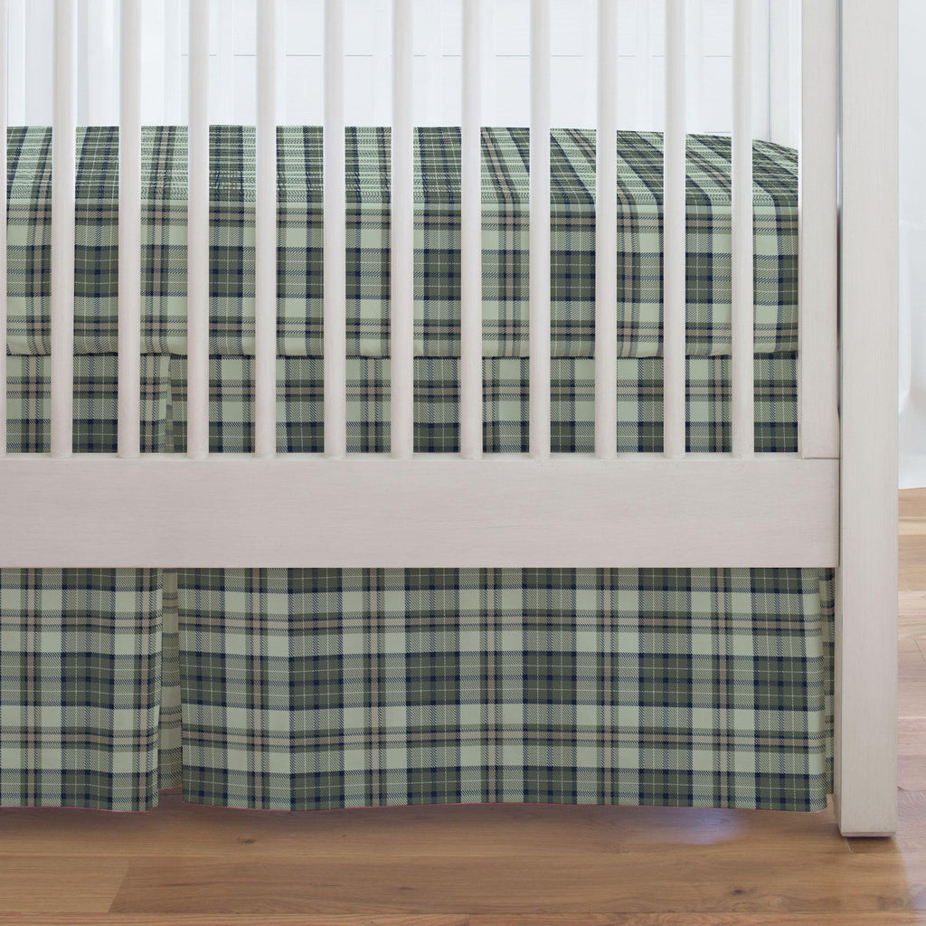 Product image for Navy and Seafoam Plaid Crib Skirt Single-Pleat