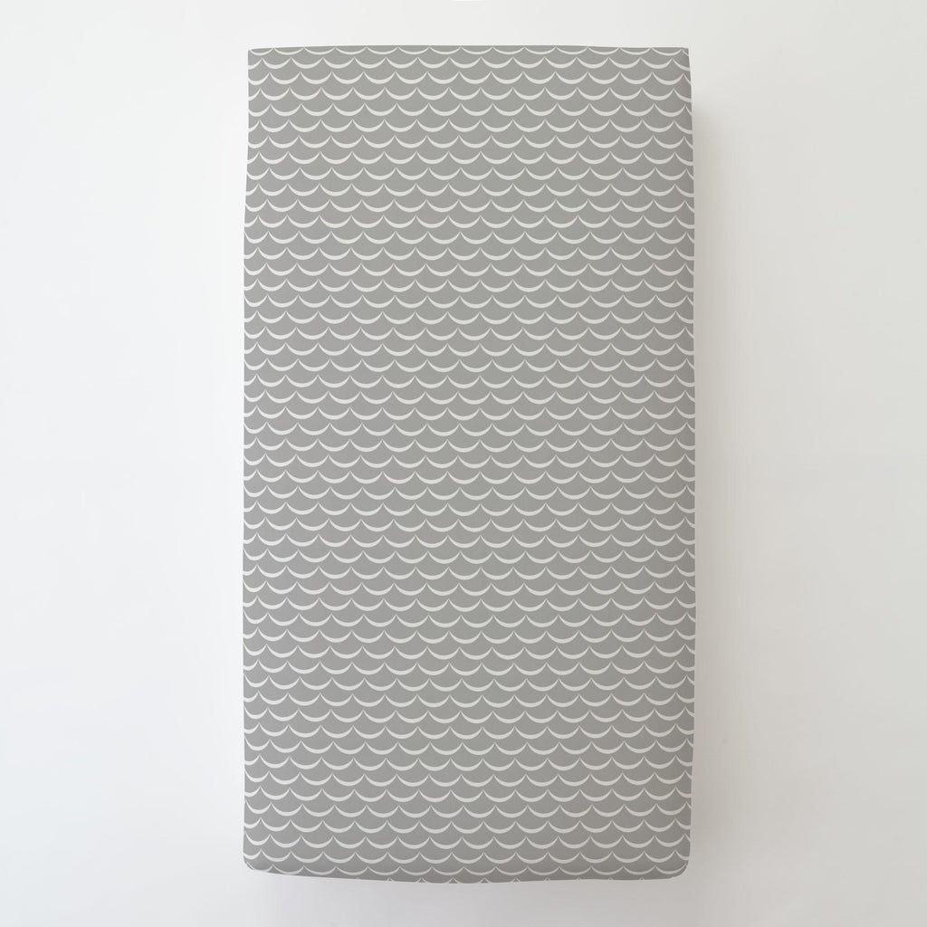 Product image for Silver Gray Waves Toddler Sheet Bottom Fitted